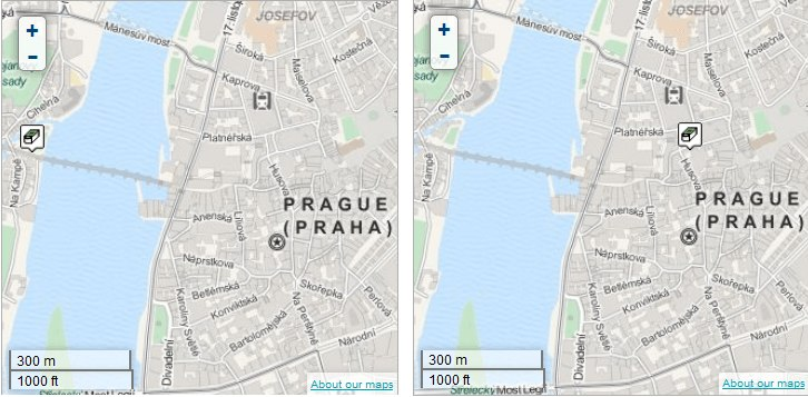 Prague bridges geocache (left) Terekza geocache (right) both found more than 12,400 times