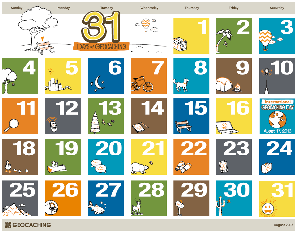 Click for a printable version of the 31 Days of Geocaching Calendar