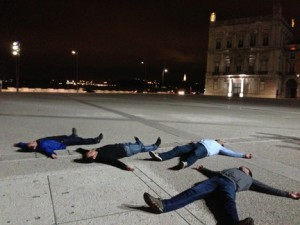 """Bruning"" in Lisbon. It's kind of like planking, but on your back."