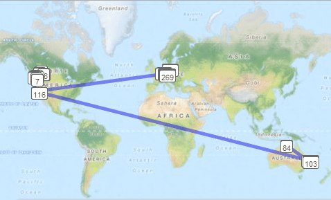 Summer Time Geocoin's Travel Map