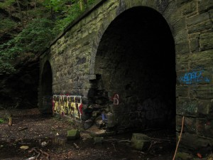 The entrance to the tunnels. There may or may not be zombies inside. Photo by geocacher DeadColdHands