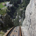 Hold on! The train you take to get to the Gelmsersee takes on a 106% grade! Photo by geocacher vomhoger.