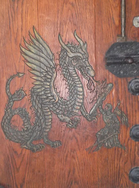 Hand-carved details on the door. Photo by geocacher Iscandar