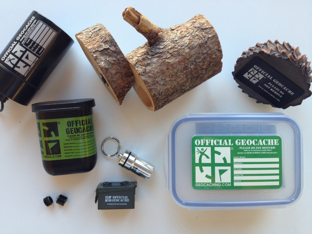 Geocache é um recipiente nos tamanhos micro, pequeno e normal