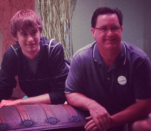 Jared and his dad at Geocaching HQ