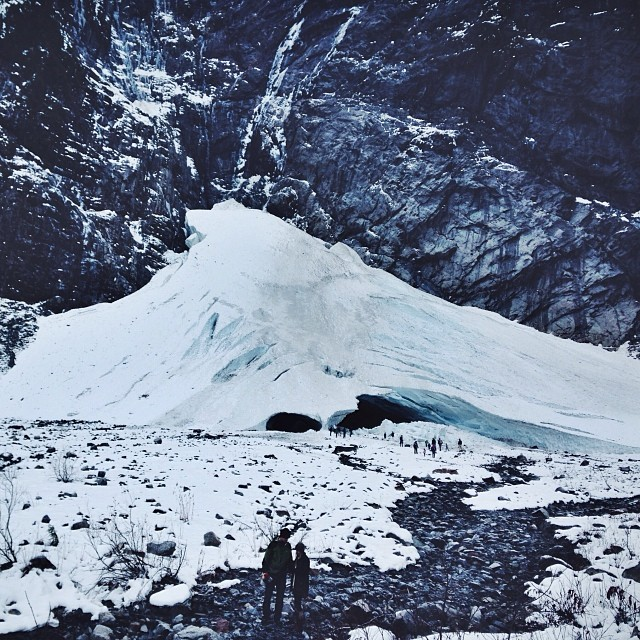 Ice caves from a distance. Photo from the official Geocaching Instagram.