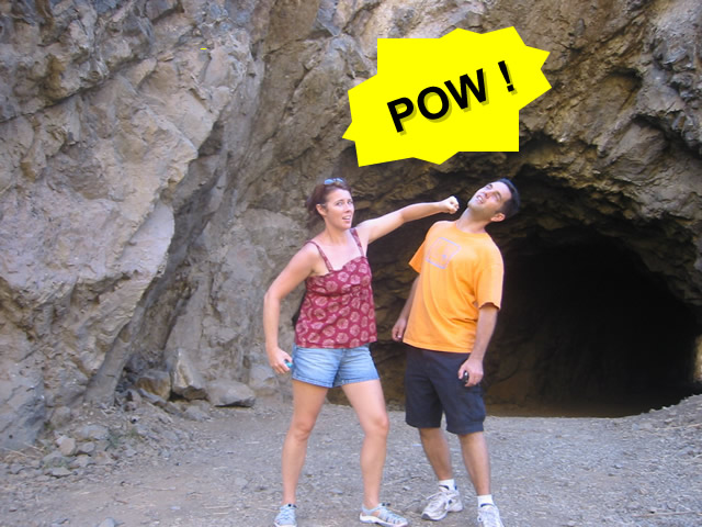 Two geocachers reenacting one of their favorite scenes from the original series. Photo by geocahers Team Afrofish