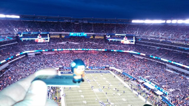 Geocaching Travel Bug at the MetLife Stadium during the Super Bowl XLVIII.