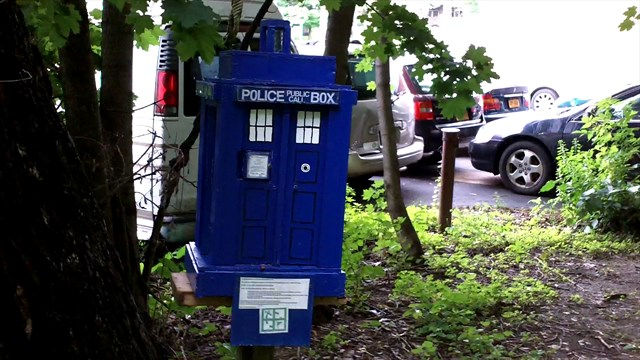 The TARDIS in the wild. Photo by geocacher Lost From New York