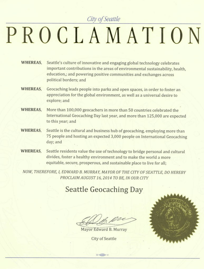 Official Seattle Proclamation
