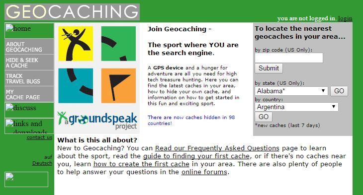 Geocaching.com homepage  circa early 2002