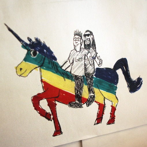 """Phil and Gary on a unicorn, please"""