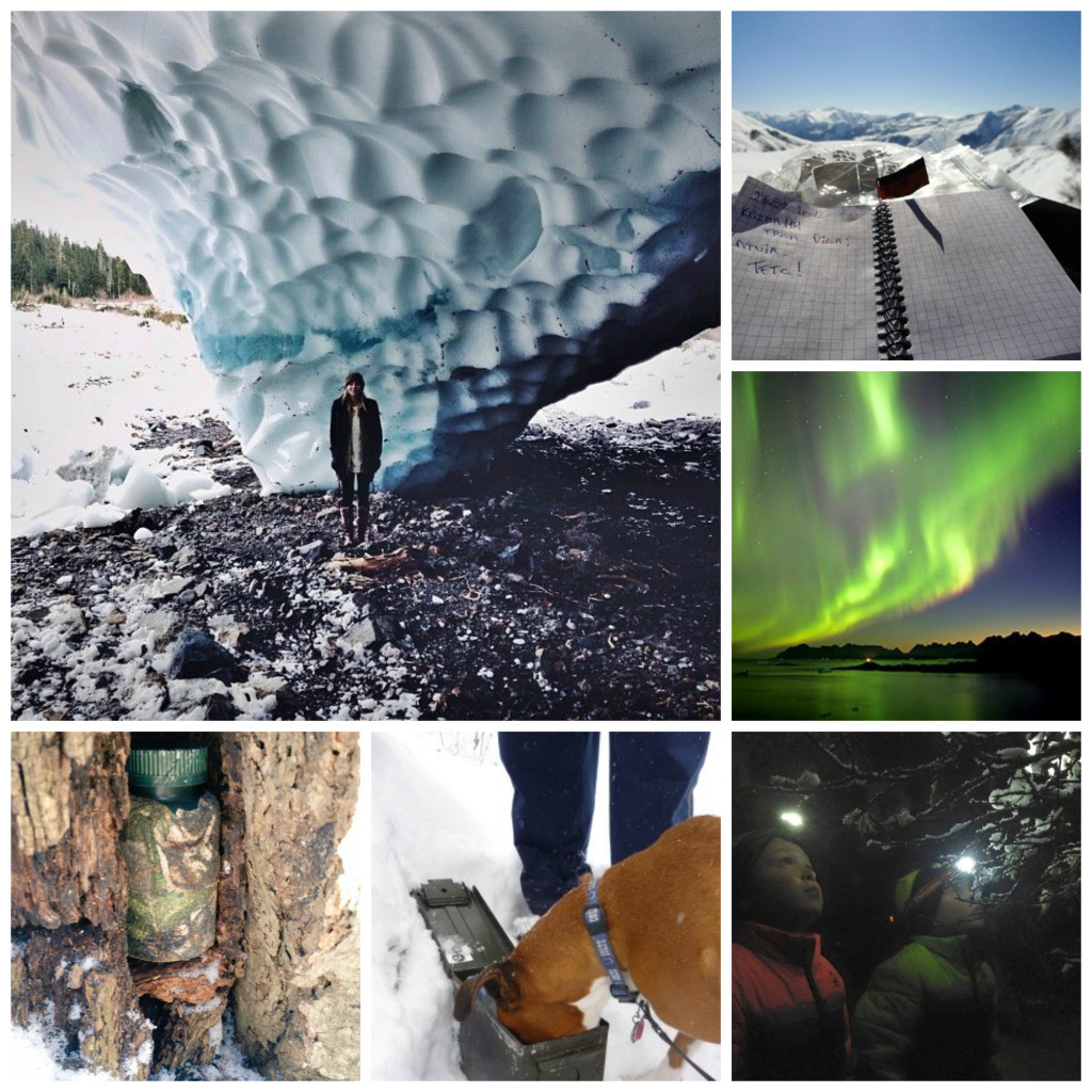 "Clockwise from top left: Earthcache at GC1575A Big Four Ice Caves in Washington, Heli ski to GCV3AH ""Georgia on my mind"" in Georgia, Eurasia, GC141MY The Northern Lights (Traditional Cache) in Newfoundland and Labrador, unknown night cache, unknown doggie cache, unknown tree cache."