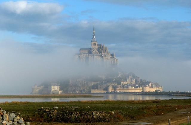 Le Mont Saint Michel in the fog