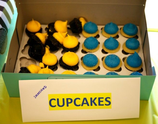 In traditional Leap Day style, the yellow cupcakes were smooshed.
