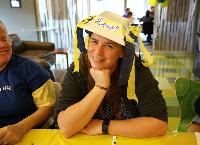 These Leap Day hats were made out of recycled plastic dinnerware. (In traditional Leap Day fashion.)