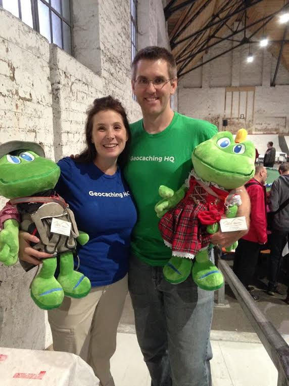 Jayme, Ben, and Signal the Frog at a Geocaching Event