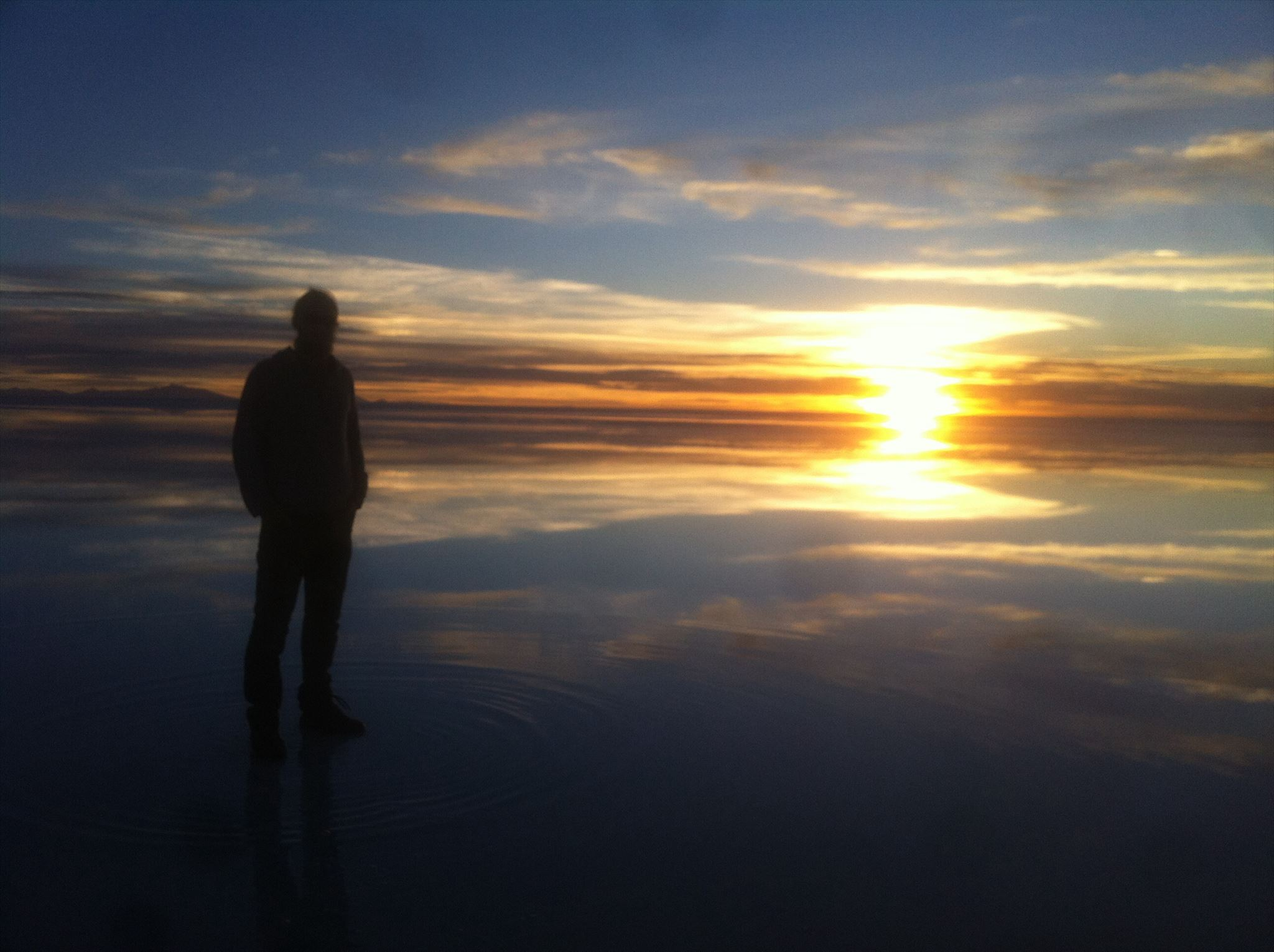 Sunset and water at the salt flats