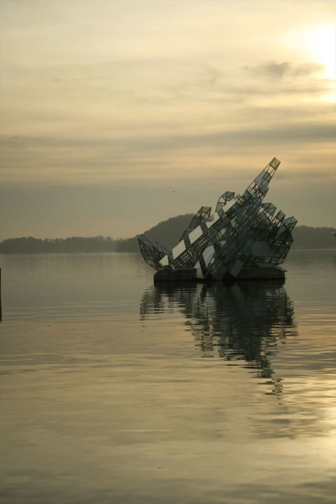 """""""She Lies"""" sculpture in Oslo Harbor."""