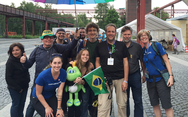 HQ Staff with German and Brazilian Geocachers