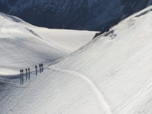 Mountaineers descending the glacier