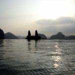 Junk boats at dusk