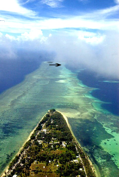 This World War II plane wreck is located in the middle of the Pacific Ocean about 500 miles (800 km) west of the International Date Line near the Majuro atoll as part of the Marshall Islands.