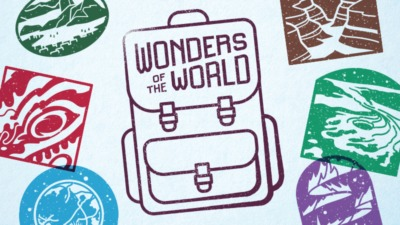 Passport stamps surrounding an illustration of a backpack that says Wonders of the World.